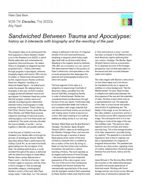 Sandwiched Between Trauma and Apocalypse
